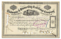 DUBUQUE & SIOUX CITY RAIL ROAD COMPANY STOCK CERTIFICATE 1800'S
