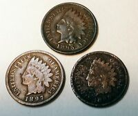 1895 1897 1898 US INDIAN HEAD CENT CIRCULATED
