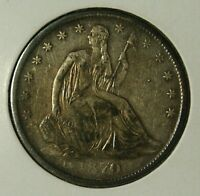1870 S  SEATED LIBERTY HALF  AU  NO DRAPERY VARIETY