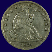 SEATED LIBERTY SILVER HALF DOLLAR. 1872 S. FINE / VF. LOT  633 097