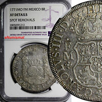 MEXICO CHARLES III SILVER 1771 MO FM PILLAR DOLLAR 8 REALES NGC XF DET. KM 105