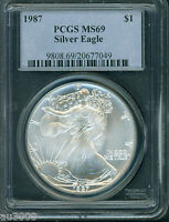1987 AMERICAN SILVER EAGLE ASE S$1 PCGS MS69 MS 69