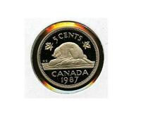 ONE CANADA 1987 FROSTED PROOF UHC 5 CENT FROM PROOF SET