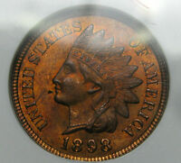 1898 INDIAN CENT ANACS MS 64 RB PENNY OLD SLABBED GRADED