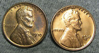 LOT OF 2 LINCOLN WHEAT CENT PENNIES 1930 AND 1930-S  -- STUNNING --  M231