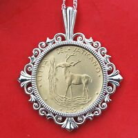 1970 VATICAN 20 LIRE BU UNC COIN RED DEER SOLID 925 STERLING SILVER NECKLACE NEW