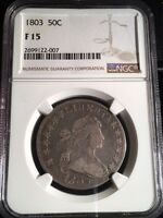 1803 DRAPED BUST HALF DOLLAR NGC F15 SOLID COIN  EARLY HALF