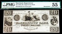1830'S  50'S HAGERSTOWN MARYLAND $20 DOLLAR OBSOLETE BANK NOTE PMG ABOUT UNC 55