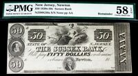 1830S 1850S NEWTON,NEW JERSEY $50 SUSSEX OBSOLETE BANK NOTE PMG CHOICE AU 58 EPQ