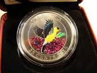 2010 25 CENT COIN CANADA COLOURED GOLDFINCH   WITH CERTIFICATE COA & BOX
