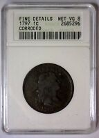 1797 DRAPED BUST LARGE CENT WITH STEMS 1C  SMALL ANACS FINE DETAILS NET VG 8