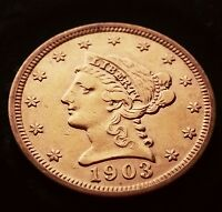 1903 BEAUTIFUL $2.5 GOLD QUARTER EAGLE LIBERTY CORONET HEAD