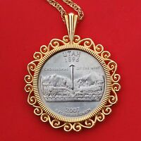 US 2007 UTAH STATE QUARTER BU COIN GOLD PLATED NECKLACE 24