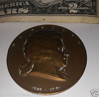 ANTIQUE BRONZE UNIFACE MEDAL W AMADEUS MOZART 1756 1791 A. HARTIG COMPOSER MUSIC