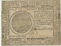 1776 $7 CONTINENTAL AMERICAN REVOLUTION CURRENCY   CHOICE CRISP UNCIRCULATED