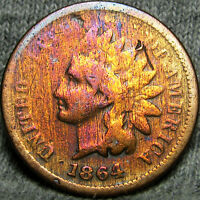 1864 L INDIAN CENT US PENNY POINTED BUST INITIAL L      TYPE COIN      X449