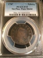 1787 NEW JERSEY SMALL PLANCHET PLAIN SHIELD COLONIAL COPPER PCGS F15