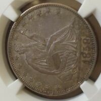 1858 LIBERTY SEATED HALF NGC AU58 PRISTINE NEW SLAB DEAL CHN
