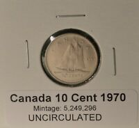 1970 CANADA DIME   UNCIRCULATED   FROM ORIGINAL MINT ROLL   LOW MINTAGE KEY DATE