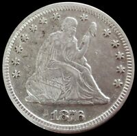 1876 CC SILVER US SEATED LIBERTY QUARTER DOLLAR COIN LY FINE CONDITION