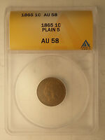 1865 INDIAN HEAD CENT ANACS AU 58 PLAIN 5