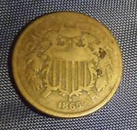 1865 UNITED STATES 2 CENT PIECE COIN CIRCULATED