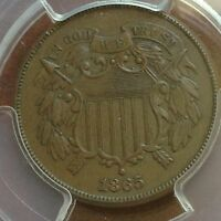 1865 TWO CENT PIECE PCGS AU55 PERFECT FOR GRADE CHN