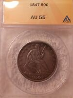 1847 P LIBERTY SEATED 50C AU 55 NO ISSUES OR DETAILS RARITY 6.2 OR BETTER