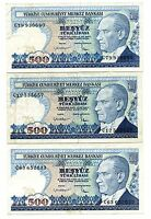 LOT OF 3 1970 CENTRAL BANK OF TURKEY 500 LIRA P195 21182