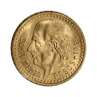 1945 MEXICO GOLD 2 1/2 PESOS  .0603 OZ    BU