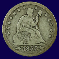 SEATED LIBERTY SILVER QUARTER. 1853 O VG / FINE. ARROWS & RAYS LOT  9010 92 002