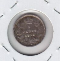 1875 H CANADA FIVE CENTS SILVER SMALL DATE   VG