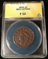 1832 US LARGE CENT MEDIUM LETTERS ANACS FINE 12 -  PROBLEM-FREE COIN