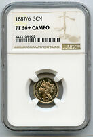 1887/6 3CN 3 CENT NICKEL NGC PF 66 CAMEO FINEST GRADED BY NGC IN CAMEO ONLY