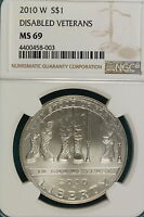 2010 W NGC MS69 DISABLED VETERANS COMMEMORATIVE DOLLAR   A7316