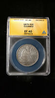 1875 SILVER SEATED LIBERTY HALF DOLLAR XF40 DETAILS ANACS