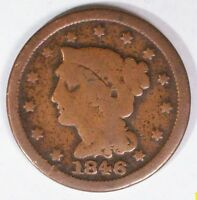 U.S.A LARGE CENTS BRAIDED HAIR  1846  FINE PLUS COPPER COIN