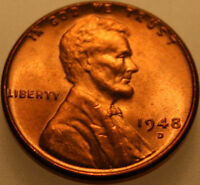 1948 D LINCOLN WHEAT CENT UNCIRCULATED CHOICE RED [SN05]