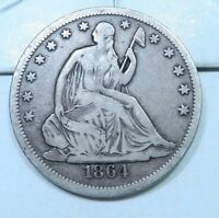 1864 S SEATED LIBERTY HALF DOLLAR // VF XF // H1896