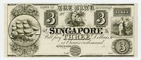 1800'S $3 THE BANK OF SINGAPORE MICHIGAN NOTE