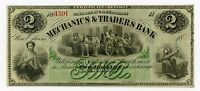 1800'S $2 THE MECHANICS & TRADERS BANK   NEW ORLEANS LOUISIANA NOTE