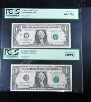 2 7 DIGIT ASCENDING LADDER CONSECUTIVE 1995 $1 FEDERAL RESERVE NOTES   PCGS 08