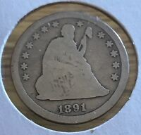 1891 P SEATED LIBERTY 25C 90 SILVER     NICE ULTRA LOW FIXED PRICEG90