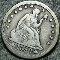 1853 SEATED LIBERTY QUARTER DOLLAR    TYPE COIN    O960