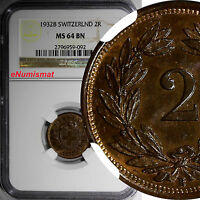 SWITZERLAND BRONZE 1932 B 2 RAPPEN NGC MS64 BN FIRST YEAR FOR THE TYPE  KM 4.2A