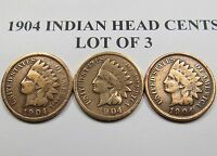 LOT OF 3   1904 INDIAN CENTS CLEANED NICELY ALL WINNINGS @ 1 S&H FEE