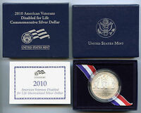2010 W AMERICAN VETERANS DISABLED FOR LIFE UNCIRCULATED COMMEM SILVER DOLLAR