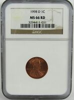 1998 D LINCOLN CENT NGC MS66RD