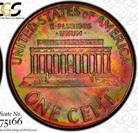 2002 1C PCGS MS 66 RD MONSTER RAINBOW TONED LINCOLN CENT PENNY