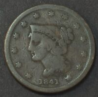 1841 LIBERTY HEAD BRAIDED HAIR LARGE CENT PENNY